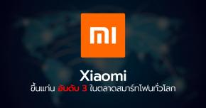 Xiaomi ขึ้นแท่นอันดับ 3 ในตลาดสมาร์ทโฟนทั่วโลกเบียด Apple ด้วยยอดส่งมอบเครื่องถึง 46 ล้านเครื่อง มีส่วนแบ่งการตลาด 13.1% !